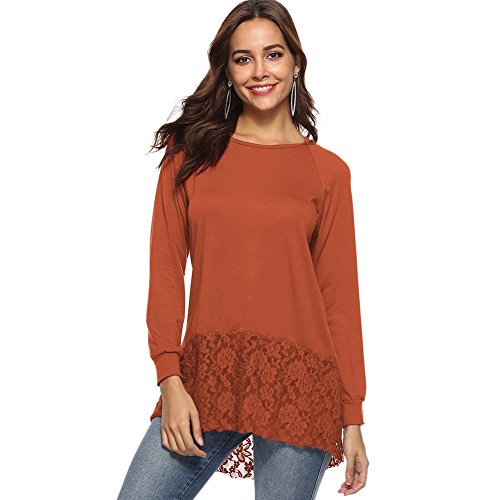 Hooded Lace (Hankyky Women's Casual Long Sleeve Lace Patchwork Hooded T-Shirt High Low Tunic Tops(S-XL))
