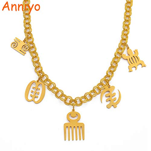 LTH12 Chain Necklaces - African Symbol Necklaces for Women Gold Color Adinkra Gye Nyame Chain Necklace Ethnic Jewelry Party Gift #199906 1 PCs