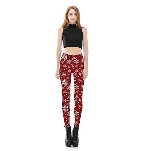 Pantaloni Natale Bianco Sport donna Rosso Yoga da Jogging Acvip Leggings lunghi Pattern BngxfwntWT