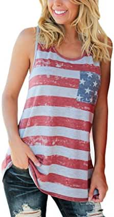 Xuan2Xuan3 Women Patriotic American Flag Camisole Tank Top Tee Vest Sleeveless Tunic T Shirt USA Independence Day Plus Size