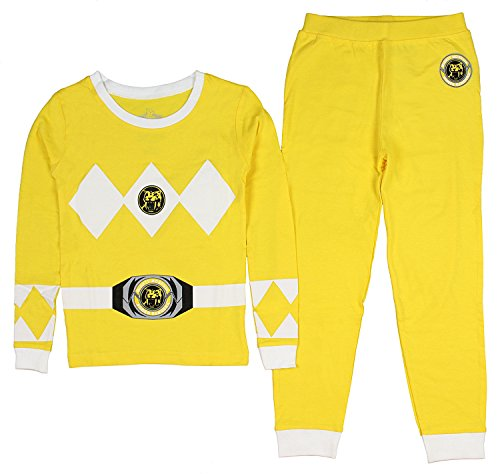 Intimo Kids Mighty Morphin Power Rangers Power Coin Emblem Costume Pajama Set (Yellow, 6)
