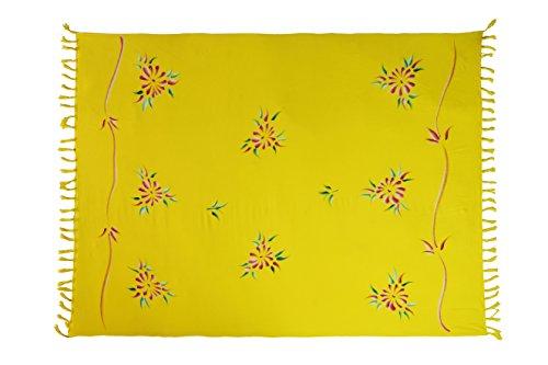 Sarong, toalla de playa, chal, hecho a mano, opaco, aprox. 170x 110cm, varios colores Gelb Blume