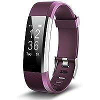 Aquaasian ID115 Plus HR Heart Rate Monitor with 0.96-inch OLED Display Kionix Sensor Digital Black Dial Unisex Smart Wristband