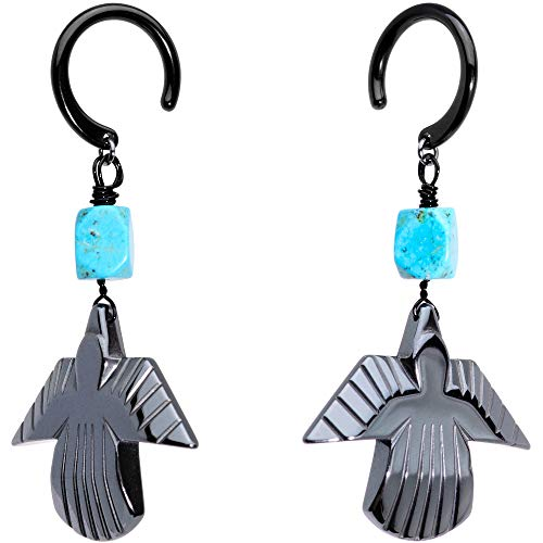 Body Candy Handcrafted 2.4mm Ear Hanger 2Pc Black Plated Steel Natural Turquoise Stone Thunderbird Dangle Ear Weights 10 Gauge ()