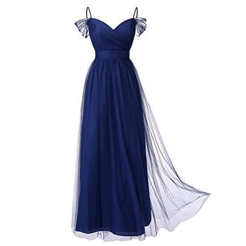Nice DRESSTELLS Long Prom Dress Tulle Off Shoulder Bridesmaid Dress With Pleat supplier