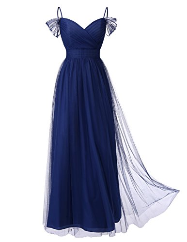 DRESSTELLS Long Prom Dress Tulle Off Shoulder Bridesmaid Dress With Pleat Navy Size 6