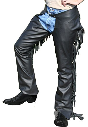 Tahoe Tack Smooth Leather Show Chaps with Fringes USA Leather- Black Large at Wholesale Price
