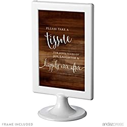 Andaz Press Framed Wedding Party Signs, Rustic Wood Print, 4x6-inch, Please Take A Tissue for Your Tears of Joy, Laughter and Happily Ever After, 1-Pack, Includes Frame