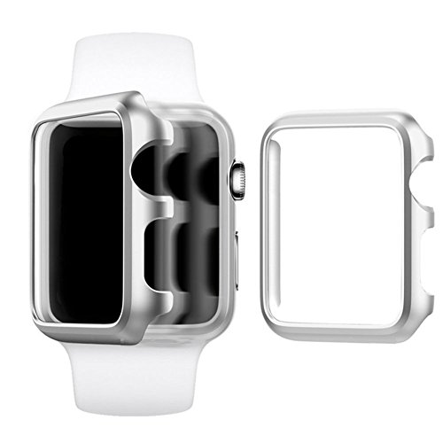 Protector Aluminum Case - Apple Watch Case 38mm, Imymax Hard Aluminum Plated Protective Bumper Shell Cover Cases for Apple iWatch Sport / Edition - Silver