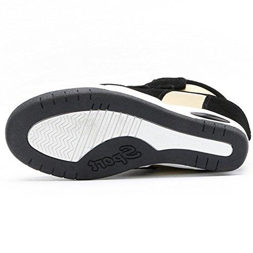 Sneakers Alte Con Zeppa U-mac Per Donna - Suola In Gomma Antiscivolo Con Tallone Nascosta E Scarpe Nere A Punta Tonda