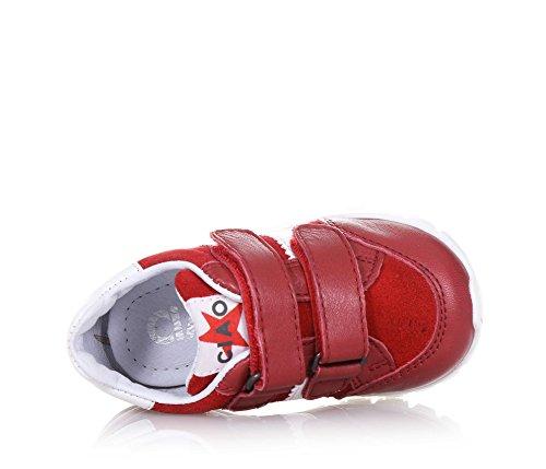 CIAO BIMBI - Roter Schuh aus Leder und Wildleder, in jedem Detail gepflegt, Stil, Qualität und Sicherheit kombinierend, mit Klettverschluss, Jungen