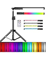 LED Video Light Wand Portable RGB Photography Light Wand with Remote Control,USB Rechargeable Light Stick 2500K-8500K Adjustable 12 Brightness Levels and 10 Color Modes and Tripod