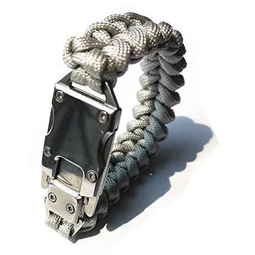 WEREWOLVES Paracord Rope Bracelet Survival Bracelets Multitool Survival Gear Tactical EDC Bracelet Camping Paracord Bracelet for Men Gift (Gray) (Sheaths Digital)