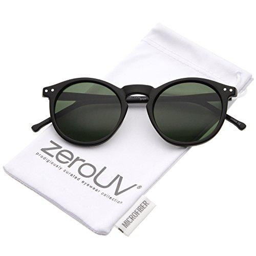 zeroUV - Retro Horn Rimmed Keyhole Nose Bridge P3 Round Sunglasses 48mm (48 Mm Matte)