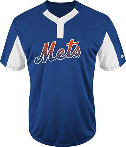 (Majestic Blank Back Adult Large New York Mets 2-Button Placket Cool-Base MLB Licensed Jersey)