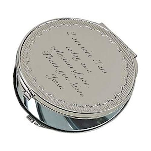 - Personalized Silver Floral Pattern Compact Mirror with Magnifying Mirror Custom Engraved Free