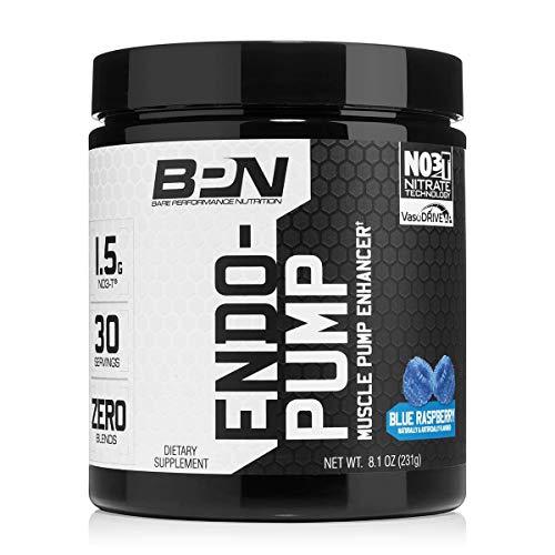 Bare Performance Nutrition | Endo Pump Muscle Pump Enhancer | L-Citrulline, NO3-T Betaine Nitrate & VasoDrive-AP Hydrolyzed Casein Tripeptides (30 Servings, Blue Raspberry)