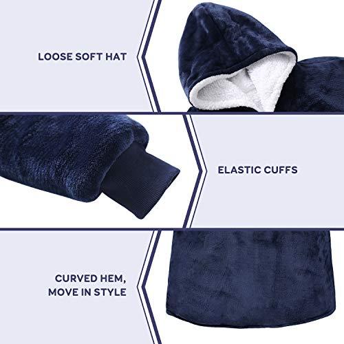 Anjee Oversized Sherpa Hooded Sweatshirt Marineblau, Superweiche tragbare Decke Sweatshirt für Erwachsene, tragbare Hoodie Sweatshirt Decke mit geräumiger Fronttasche, Einheitsgröße