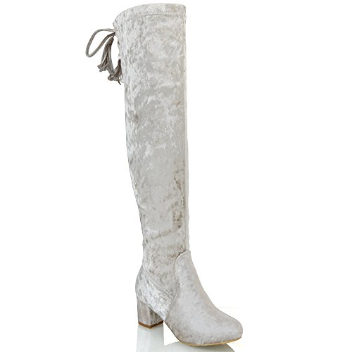ESSEX GLAM Womens Thigh High Velvet Lace up Ladies Low Heel Over The Knee High Long Boots Champagne Velvet