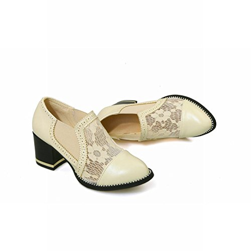 Charm Foot Fashion Womens Chunky Heel Lace Fabric Loafers Shoes Beige c2MzCx