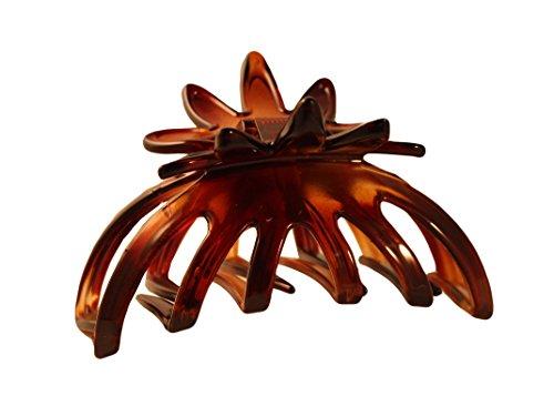 - Parcelona French Flower 3.5 Inch Flat Teeth Medium Celluloid Shell Claw Jaw Hair Clip