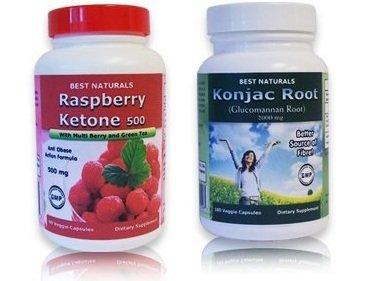 Meilleures Naturals racine Konjac Glucomannan Racine, 2000 mg, 180 capsules végétariennes & Meilleur cétone framboise Naturals, 500 mg, 60 Veggie Capsules Bogo pack