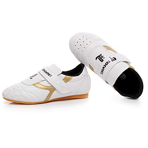 Man&Y Professional Children Taekwondo Shoes Non-Slip Soft Oxford Sport Sneaker Kids Men Women Professional Wrestling Martial Arts Training Kickboxing Shoes (Color : Gold, Size : 5US) ()