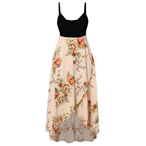 Beach Dress for Women Summer,SMALLE◕‿◕ Women Plus Size Wrap Dress V Neck Floral High Low Spaghetti Strappy Maxi Dress Black