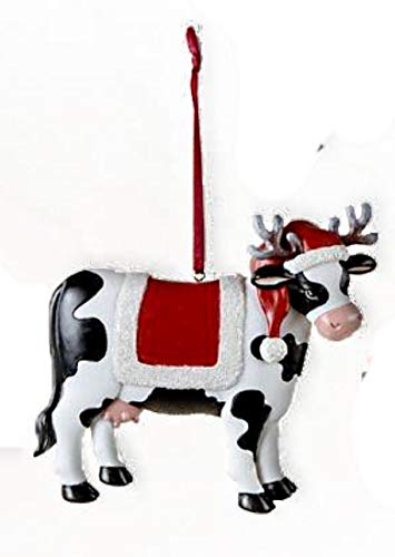 Cow Christmas Ornaments - Kurt Adler Cow in Santa Hat