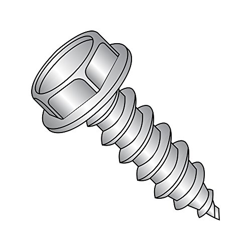 18-8 Stainless Steel Sheet Metal Screw, Plain Finish, Hex Washer Head, Hex Drive, Type AB, #10-16 Thread Size, 1
