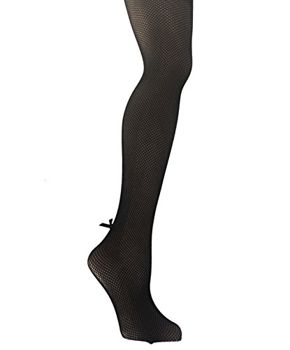 (Yelete Killer Legs Womens Queen Plus Size Fishnet Pantyhose 168YD022Q, Black, Back Seam with Bow)