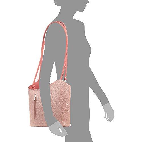 ITALIANA FIRENZE cuero Bolso Bolso Made auténtica ROSA genuino piel Rosa cm hombro mochila mujer VERA grabado Bolso Color Bolso 27x23 mochila 5x9 mujer PELLE ITALY in Arabescos ARTEGIANI gamuza Brwq70B