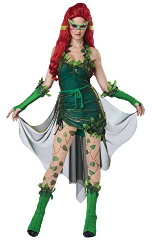 California Costumes Women's Adult Lethal Beauty Costume and Wig, Green, (Poison Ivy Costume Mask)