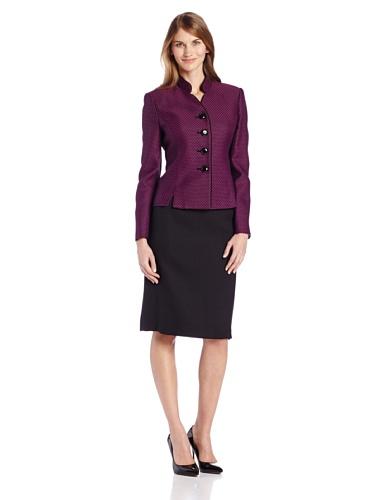 Le Suit Women's Petite Four Button Funnel Neck Tweed Jacket and Skirt Suit Set