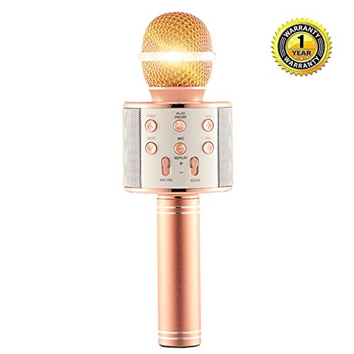 Karaoke Microphone Wireless with Bluetooth Speaker foriPhone Android PC Smartphone Portable Handheld Microphone for Singing Recording Interviews or Kids Home KTV Party - Rose Gold