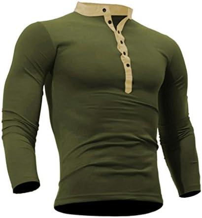 Los hombres de manga larga superior, kaifongfu Primavera Otoño Algodón T Camisa Hombres Color Sólido TSHIRT