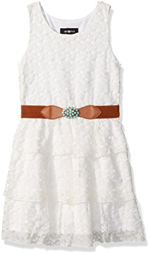 Amy Byer Girls' Big Sleeveless Lace Tiered Dress, Ivory, 12