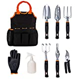 CIELCERA Garden Tool Set, 9 Piece Aluminum Hand Tool Kit, Outdoor Tool, Heavy Duty Gardening Work Set with Ergonomic Handle, Gardening Tools for Women Men,The Right Partner for Your Gardening
