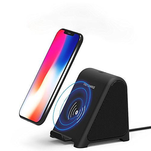 Wireless Charger with Bluetooth Speakers,HiFi Music Stereo,Protable Fast Wireless Charger for Samsung/iphone 8/iphone X/iphone 8 Plus by DARONGFENG