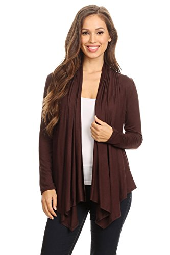 (Casual Long Sleeve Drape Front Open Jacket Cardigan/Made in USA Brown M)