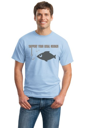 JTshirt.com-19886-SUPPORT YOUR LOCAL HOOKERS Unisex T-shirt / Funny Fishing Joke Humor Shirt-B009B1CCTG-T Shirt Design