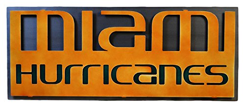 Gear New University of Miami Hurricanes 3D Vintage Metal College Man cave Art Large ()