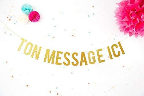 Bannière Personnalisable Joyeux Anniversaire Or Fête Enterrement De Vie De Jeune Fille Décoration Guirlande Mariage Paillettes Banderole Glitter