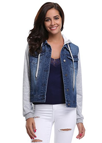 MISS MOLY Women's Paneled Drawstring Hoodie Denim Jacket With Pockets Dark Blue Jacket S (Trim Jacket Hoodie)