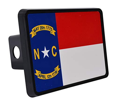 Rogue River Tactical North Carolina State Flag Trailer Hitch Cover Plug NC ()
