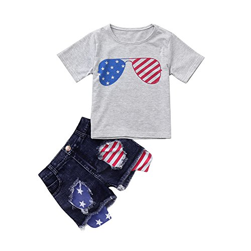 (Respctful✿Baby American USA Flag Clothing Short Sleeve, T-Shirt and Denim Pant Set Newborn ler Outfit Set 2 Pcs)