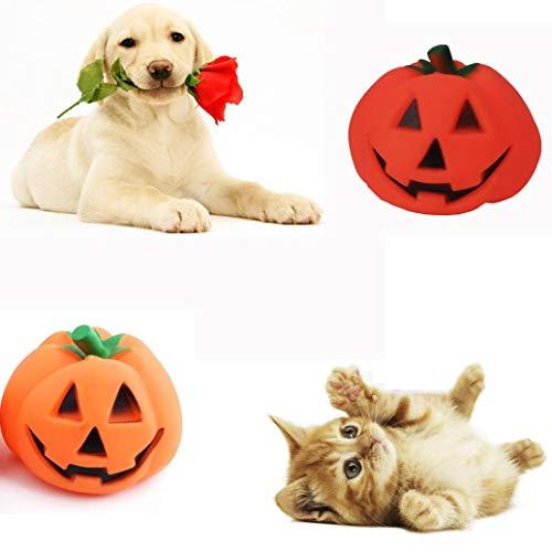 Moonper Pet Halloween Toys Cat Dog Rubber Pumpkin chew Biting Squeaky Molar Durable Toys Training Interactive (9X 9x7cm, Random)