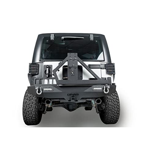 2007-2018 Jeep JK Different Trail Rear Bumper w/ Receiver Hitch & Tire Carrier & 2 x 18W LED Accent Lights Black Rock Crawler for Jeep Wrangler & Wrangler Unlimited hot sale