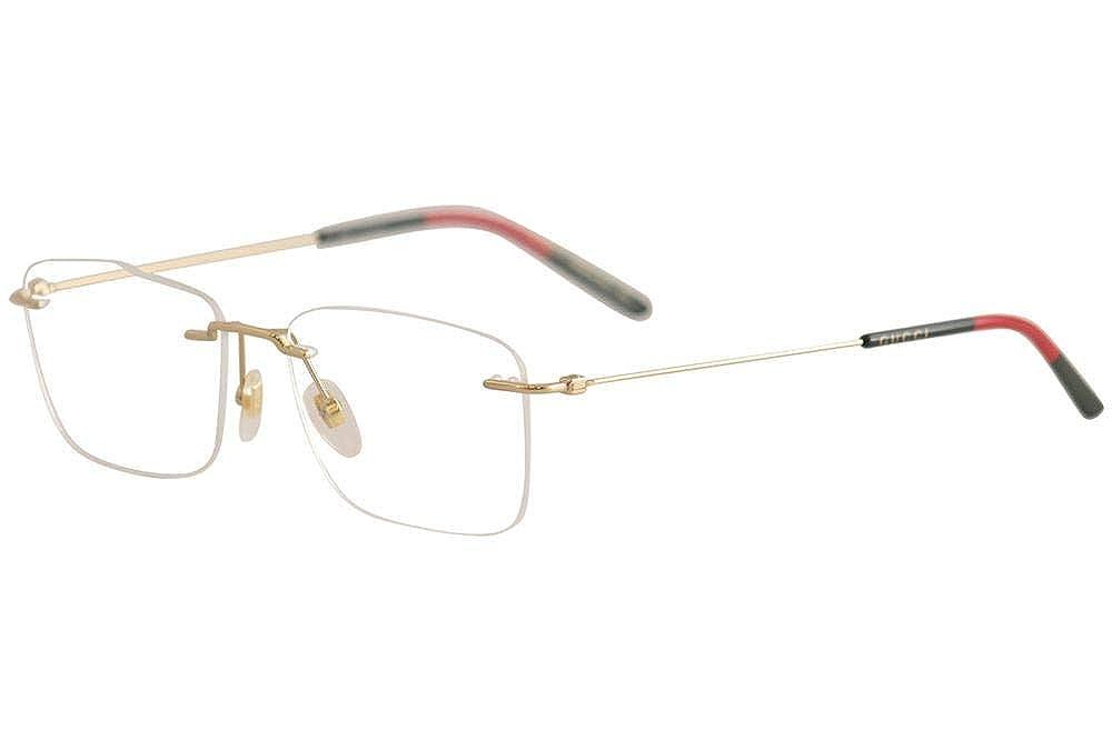 3072b9c18a8 Amazon.com  Gucci GG 0399O 002 Light Gold Metal Rimless Eyeglasses 56mm   Clothing
