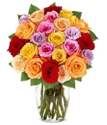 From You Flowers - Two Dozen Rainbow Roses (Free Vase Included)